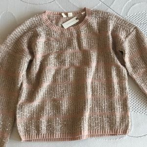 Sparkly, pink/rose Anthropologie sweater
